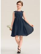 Empire-Linie U-Ausschnitt Knielang Chiffon Spitze Kleid für junge Brautjungfern mit Rüschen Perlstickerei Pailletten