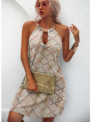 Sólido Vestidos sueltos Sin mangas Mini Casual Franelilla Vestidos de moda