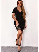 固体 ボディコンドレス 半袖 ミニ リトルブラックドレス カジュアル ファッションドレス