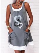 Impresión Corazón Vestidos sueltos Sin mangas Mini Casual Franelilla Vestidos de moda