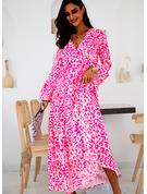 Květiny Tisk Šaty Shift Volný Rukáv Dlouhé rukávy Maxi Neformální Dovolená Tunika Módní šaty