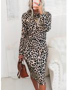 Leopard Åtsittande Långa ärmar Midi Elegant Modeklänningar