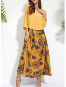 Floral Print Shift 3/4 Sleeves Maxi Casual Tunic Dresses