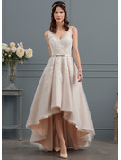 A-Line V-neck Asymmetrical Tulle Lace Wedding Dress With Bow(s)