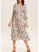 Blommig Print A-linjeklänning 3/4 ärmar Midi Fritids Elegant skater Modeklänningar