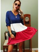 Color Block Shift Long Sleeves Mini Casual Tunic Dresses