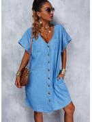 固体 シフトドレス 半袖 ミディ カジュアル チュニック ファッションドレス