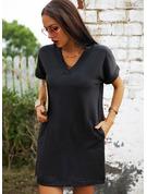 Couleur Unie Coupe droite Manches Courtes Mini Petites Robes Noires Décontractée T-shirt Robes tendance