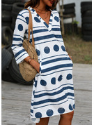 Puntíky Pruhované Šaty Shift 3/4 rukávy Midi Neformální Tunika Módní šaty