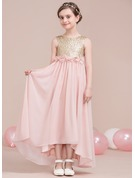 A-Line Scoop Neck Asymmetrical Chiffon Junior Bridesmaid Dress With Flower(s) Bow(s)