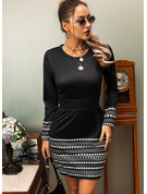 Print Sheath Long Sleeves Mini Little Black Casual Dresses