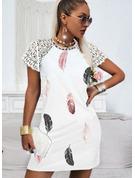 Impresión Vestidos sueltos Manga Corta Mini Elegante Vestidos de moda