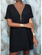 Solid Shift 1/2 Sleeves Midi Little Black Casual Tunic Dresses