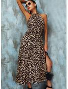 Leopard A-Linien-Kleid Ärmellos Maxi Lässige Kleidung Skater Modekleider