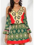 Print Sheath 3/4 Sleeves Cold Shoulder Sleeve Mini Boho Casual Vacation Dresses