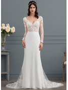 Trumpet/Mermaid V-neck Court Train Chiffon Wedding Dress With Beading