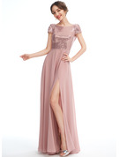 A-Line Scoop Neck Floor-Length Bridesmaid Dress With Sequins Split Front
