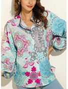 Print V-Neck 3/4 Sleeves Button Up Casual