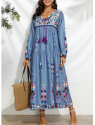 Floral Print Shift 3/4 Sleeves Maxi Casual Vacation Dresses