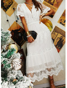 Spitze Einfarbig V-Ausschnitt Kurze Ärmel Maxi Modekleider