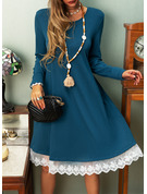 Lace Solid Shift Long Sleeves Midi Casual Vacation T-shirt Dresses
