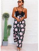 Blommig Print A-linjeklänning Ärmlös Maxi Fritids Semester skater Typ Modeklänningar