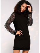 Sequins Shift Long Sleeves Midi Casual Tunic Dresses