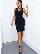 Solido A trapezio Senza maniche Mini Piccolo nero Elegante Vestiti di moda
