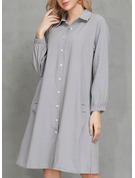 Einfarbig Etuikleider Lange Ärmel Midi Lässige Kleidung Hemdkleider Modekleider