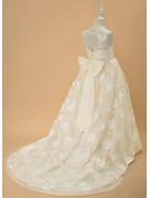 Robe Marquise/Princesse Balayage/Pinceau train Robes à Fleurs pour Filles - Tulle/Dentelle Sans manches Col rond avec À ruban(s)