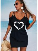 Print Hjerte Skede 1/2 ærmer Mini Casual Mode kjoler