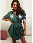Leopard Druck Pailletten Etui Lange Ärmel Mini Lässige Kleidung Hemdkleider Modekleider