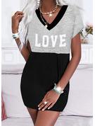 Color Block Print Bogstav Skiftekjoler Korte ærmer Mini Casual T-shirt Mode kjoler