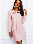 Solid Shift Long Sleeves Mini Elegant Tunic Dresses