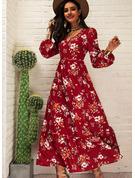 Blumen Druck A-Linien-Kleid Lange Ärmel Maxi Lässige Kleidung Skater Modekleider