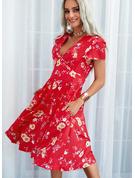 Floral Impresión Vestido línea A Manga Corta Midi Casual Patinador Vestidos de moda