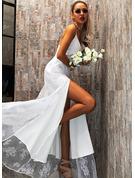 Spets Solid A-linjeklänning Ärmlös Maxi Party Sexig skater Typ Modeklänningar