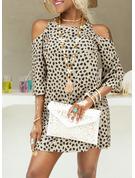 Leopard Print Skiftekjoler 3/4 ærmer Kold-skulder ærmer Mini Casual Mode kjoler