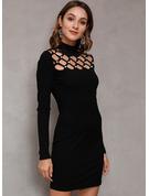 Solid Skede Lange ærmer Mini Den lille sorte Casual Mode kjoler
