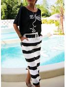 Estampado Listra Bainha Manga Curta Midi Casual Vestidos na Moda