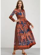 Druck A-Linien-Kleid Lange Ärmel Maxi Boho Lässige Kleidung Urlaub Modekleider
