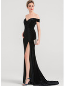 Trumpet/Mermaid Off-the-Shoulder Sweep Train Velvet Evening Dress With Split Front
