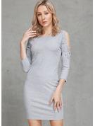 Einfarbig Figurbetont 3/4 Ärmel Mini Party Lässige Kleidung Elegant Sexy Pullover Modekleider