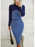 Color Block Bodycon Long Sleeves Midi Elegant Pencil Dresses