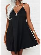 Solid Shift Sleeveless Mini Little Black Casual Dresses