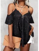Print Kolde skulder 1/2 ærmer Elegant Skjorter