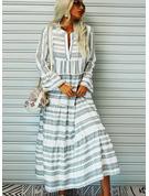 Tisk Šaty Shift Volný Rukáv Dlouhé rukávy Maxi Neformální Dovolená Módní šaty