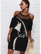 Print Skiftekjoler 1/2 ærmer Midi Casual Tunika Mode kjoler
