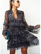 Leopard Shift Flare Sleeve Long Sleeves Mini Elegant Dresses