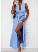 Solid Kjole med A-linje Ærmeløs Maxi Casual Ferie skater Mode kjoler